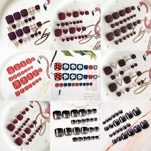 24Pcs-Charm-Acrylic-False-Fake-Artificial-Toe-Nails-Tips-Nail-Art-Decor-Colorful