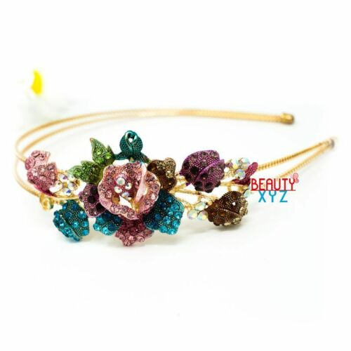 New Korea stylish big flowers Austrian Crystal High Quality Metal Headband USA