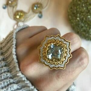 Gorgeous-Princess-Cut-Huge-Citrine-925-Silver-Ring-Women-Wedding-Jewelry-Sz-8