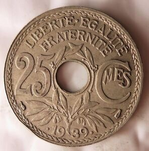 1939-Francia-25-Centimos-Excelente-Vintage-Moneda-Ganga-Bin-138