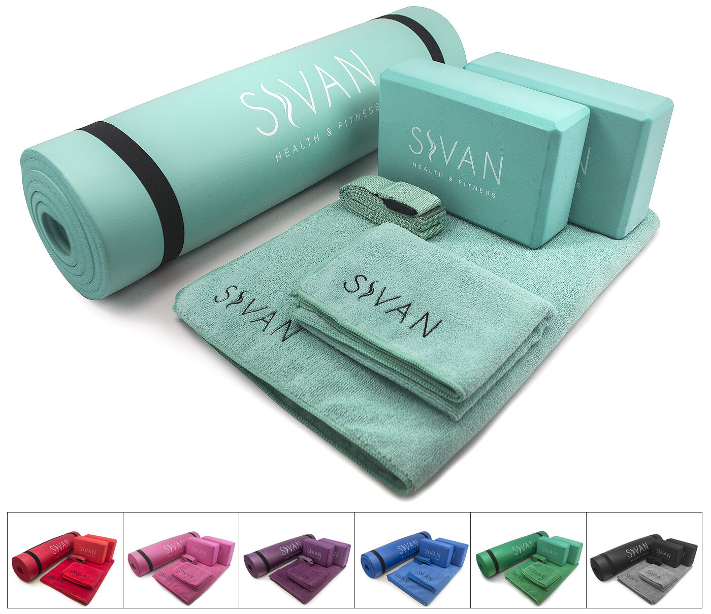 Sivan 6-Piece Yoga Set- Exercise Mat, Blocks, Mat, Towel, Hand Towel