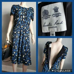 Austin Reed Uk 16 Blue Leopard Print Dress Ebay