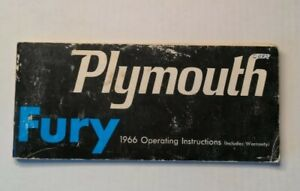 1966 Plymouth Fury Operating Instructions Manual Owners Operators Guide