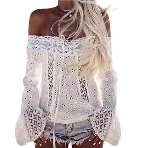 b3de8edf575 Details about New US Women Long Sleeve Blouse Shirt Ladies Lace Floral Sexy Off  Shoulder Tops