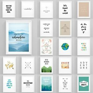Motivational-Travel-Quotes-Framed-Pictures-Wanderlust-Wall-Art-Bedroom-Prints