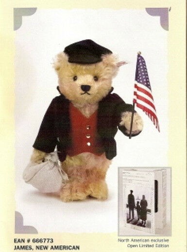 STEIFF  JAMES, NEW AMERICAN  EAN 666773 IMMIGRANT TEDDY BEAR NORTH AMERICAN EXCL