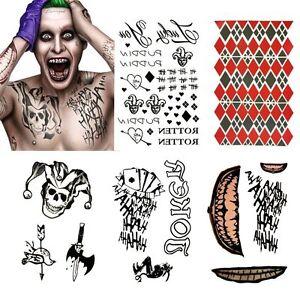 Joker Suicide Squad Temporary Tattoo Set Halloween Cosplay Harley