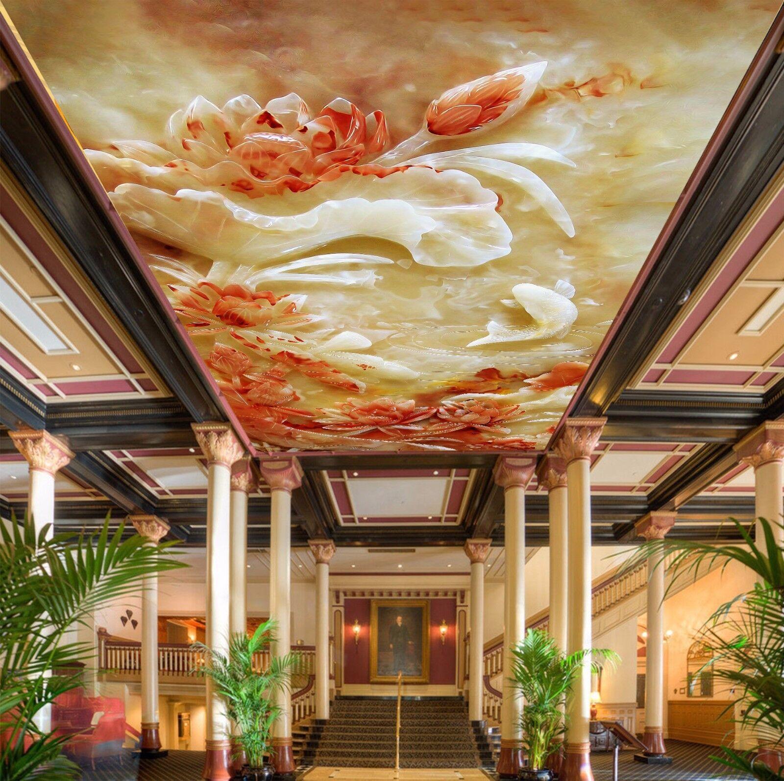 3D Jade Carving Lotus Pond 5 Ceiling Wall Paper Print Wall Indoor Wall Murals CA