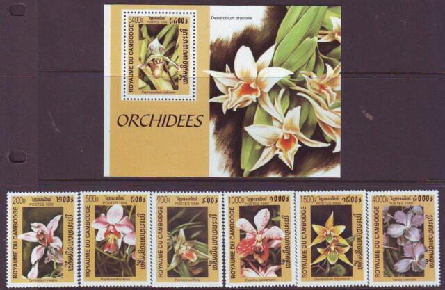 .CAMBODIA 1999 ORCHIDS  SET 6 + MINISHEET  MINT NEVERHINGED