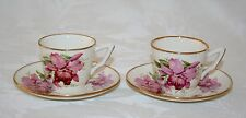 """PRETTY PAIR OF ART DECO """"ORCHID"""" PLEX STREET POTTERY DEMITASSE CUPS AND SAUCERS"""
