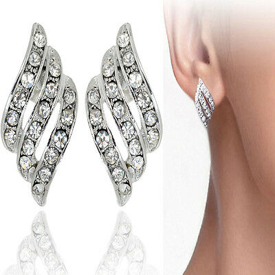 ANGEL'S WINGS Elements Crystal 18-KRGP White Gold Plated Earrings New