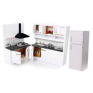 Details zu 1/12 Holz Kabinett Kühlschrank Kit Puppenhaus Küche Wohnzimmer  Möbel
