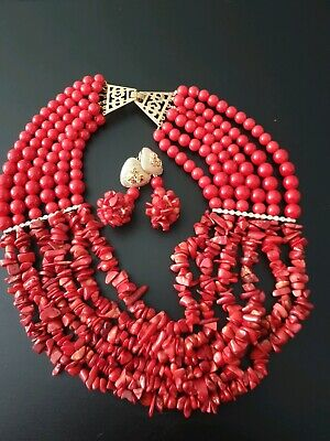 Earrings /& Waist Bead Set Red Simdi African Women Red Coral Bead Necklace