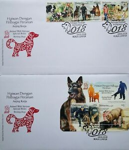 Malaysia FDC with Miniature Sheet & Stamps (18.01.2018) - Working Dogs