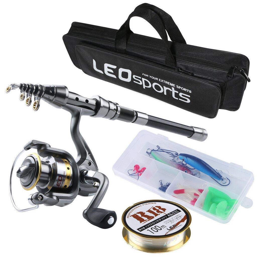 Canne à pêche et moulinet Combo Carbone Télescopique Pole & Spinning Reels Kit 1.5 m