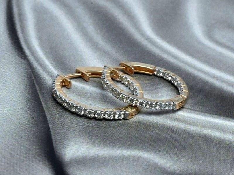 18K pink gold Finish 1.20Ct Round Brilliant Cut D VVS1 Diamond Hoop Earrings