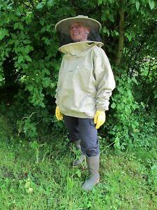 Veste abeille de première qualité, voile à chapeau rond - Olive.   Toutes les tailles