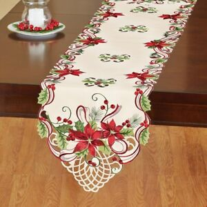 Pretty Embroidered Poinsettia Holly Berry Christmas Table Runner New Ebay