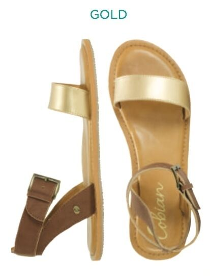 Cobian MIRABELLA Flip-Flop Womens Faux Leather Strap Flip-Flop MIRABELLA Sandals Size 8 Gold NEW 7b96bf
