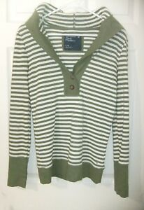 American-Eagle-Jrs-Sz-L-Olive-Striped-Thermal-Hooded-Long-Sleeve-Shirt-EUC