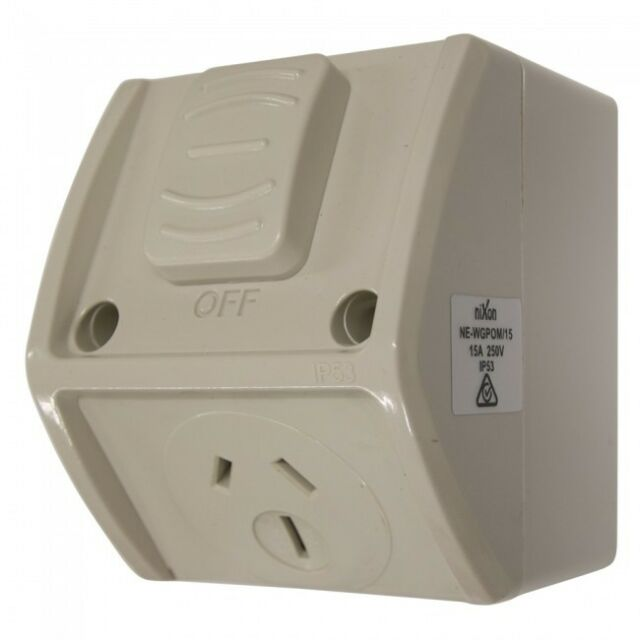 15AMP - Mini Single Weatherproof Outlet - IP53 Free Shipping