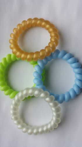 4 Large Colourful Spiral Hair Band Hairbands Bobbles Stretchy