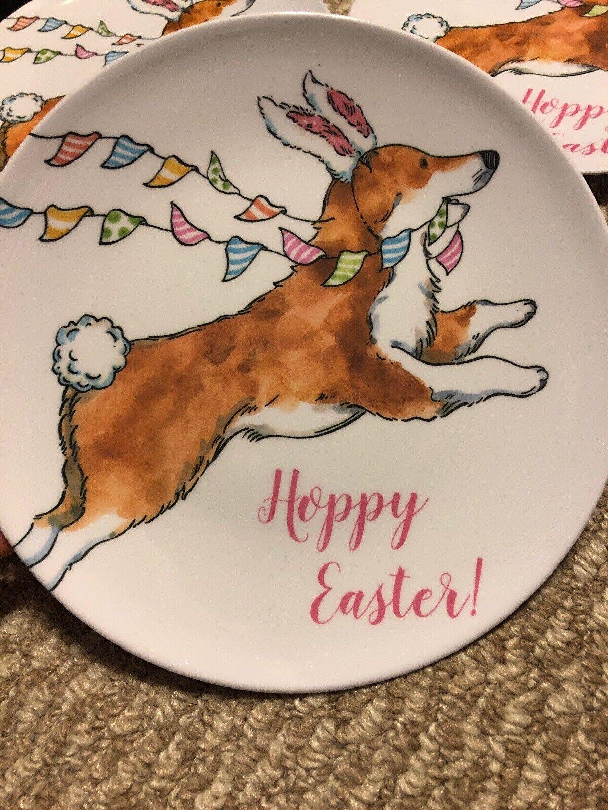 Prima Prima Prima Design Melamine Salad Plates Easter Dogs Pembroke Corgi Dog New Set 5 21fe97