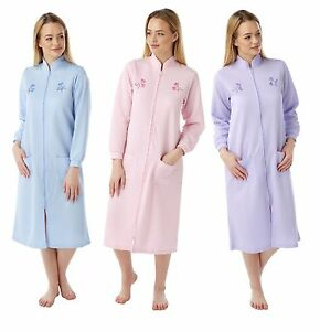 women Ladies Lightweight Zip / BUTTON dressing gown housecoat Robe ... : ladies quilted dressing gowns - Adamdwight.com