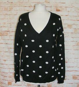 Next-polkadot-jumper-size-10-long-sleeve-deep-v-neck-loose-fit-black-white-spots