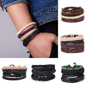 4Pcs-Punk-Multilayer-Leather-Bracelet-Men-039-s-Women-Wristband-Bangle-Jewelry-Set