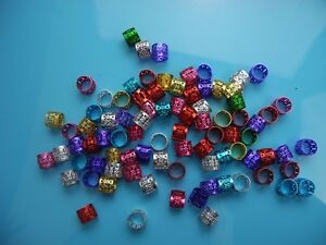 100 Mix Color colorful Dreadlock Beads Adjustable Hair Braid Cuff Clip 8mm Hole