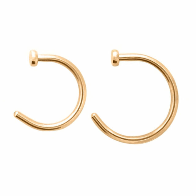 Rose Gold Nose Ring Hoop 18g or 20g Anodized Titanium 2pc