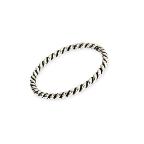 Plata Esterlina 2 mm de apilamiento Twisted Cuerda Anillo Varios Tamaños G-z