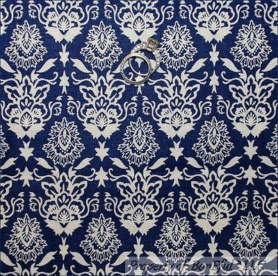BonEful Fabric FQ Cotton Quilt Navy Dark Blue Cream Off White Flower Damask Leaf