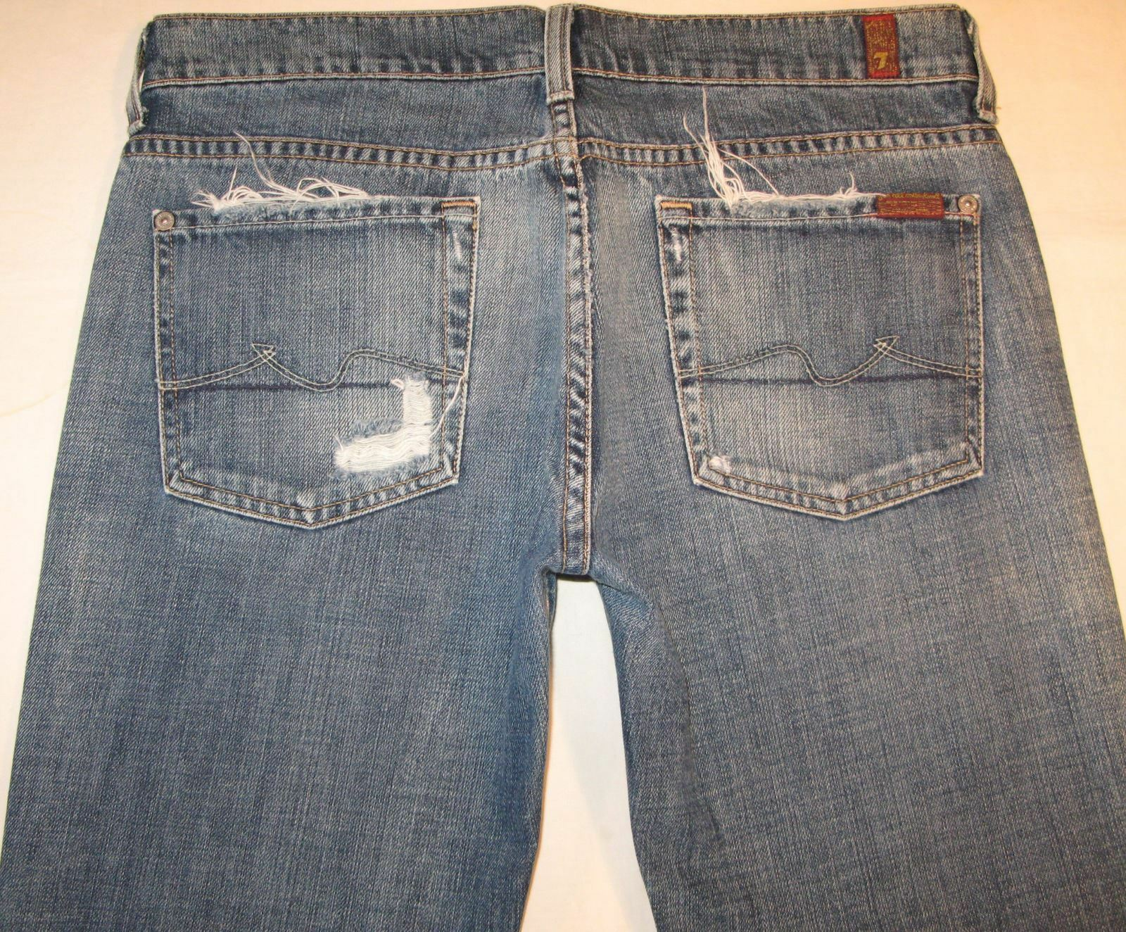 7 for all Mankind Womens Boycut Jeans Distressed w 100% Cotton Sz 29