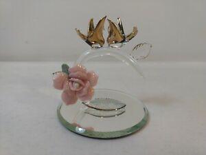 Vintage Glass Birds On Rose Branch Mirror Figurine    hd2023