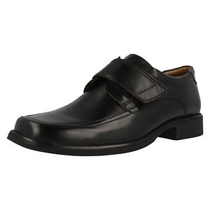 Clarks Harp Roll Mens Black Leather Rip Tape Strap Shoes 'G' Fitting (38A) (Ket)