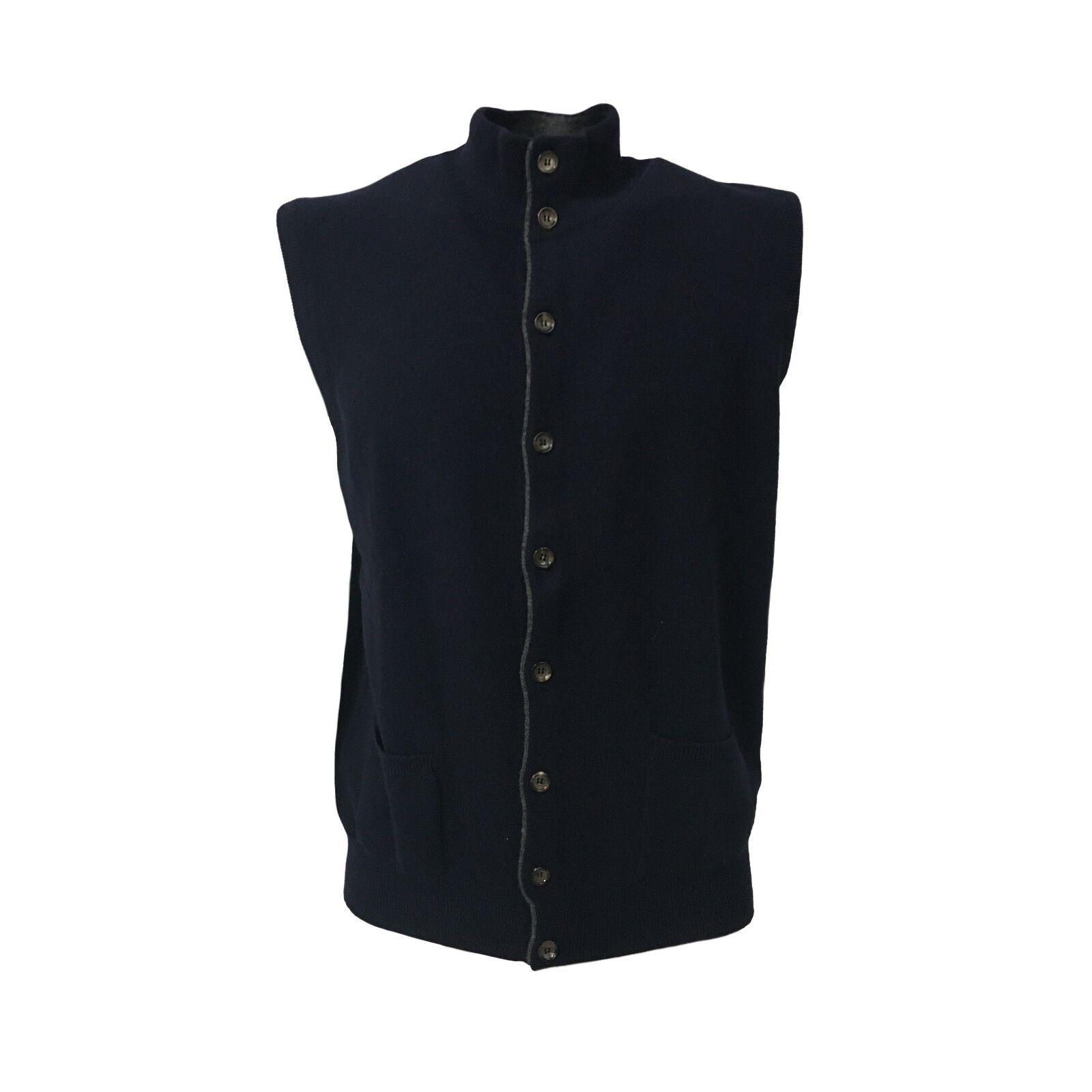 DELLA CIANA gilet uomo blu profili grigio 80% lana 20% cashmere MADE IN ITALY