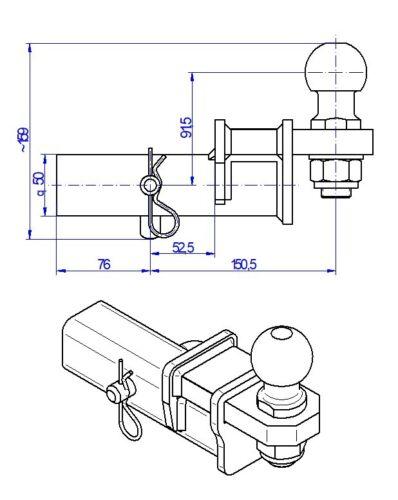 Für Chevrolet Tahoe AHK Adapter für US-Fahrzeuge 50x50mm