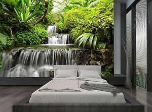 Image Is Loading Rainforest Jungle Trees Waterfall Wall Mural Photo Wallpaper