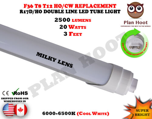 3 FT R17D F36 T12 T8 HO Replace Double Line LED 20W Clear Milky Lens Tube Light