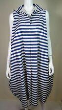 EGG London Women's Blue/White Striped Sleeveless A-Line Oversized Dress Size 2