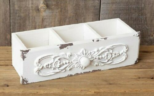 SHABBY WHITE DRAWER BOX DIVIDED Chippy French Chic Antique Style Wood Cottage
