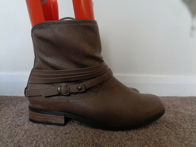 EVANS TAUPE ANKLE BIKER BOOTS SIZE 7 EEE EXTRA WIDE RRP