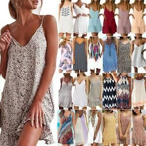 Damen Ärmellos Sommerkleid Strandkleid Minikleider Gestreift Tunika Abendkleid