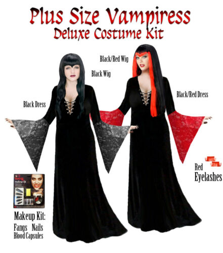 Black Vampiress Vampire Dress /& Costume Kit PLUS SIZE Standard or X-Tall