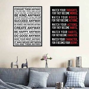 Details About Letter Quote Wall Art Poster Canvas Painting Living Room Office Home Decor