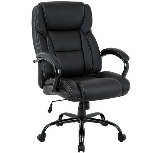 500 lb Heavy Duty High Back Big and Tall Desk Chair Executive Ergonomic leather