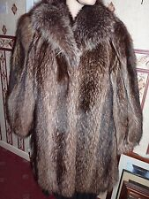 "Ladies real North American Raccoon fur coat 42"" bust size 14 length 32"""