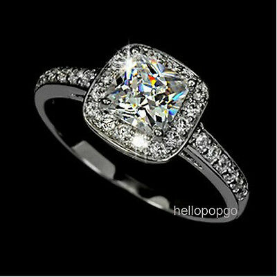 Elegant Jewelry 18K White Gold Gp Swarovski Crystal Engagement Ring  BR556